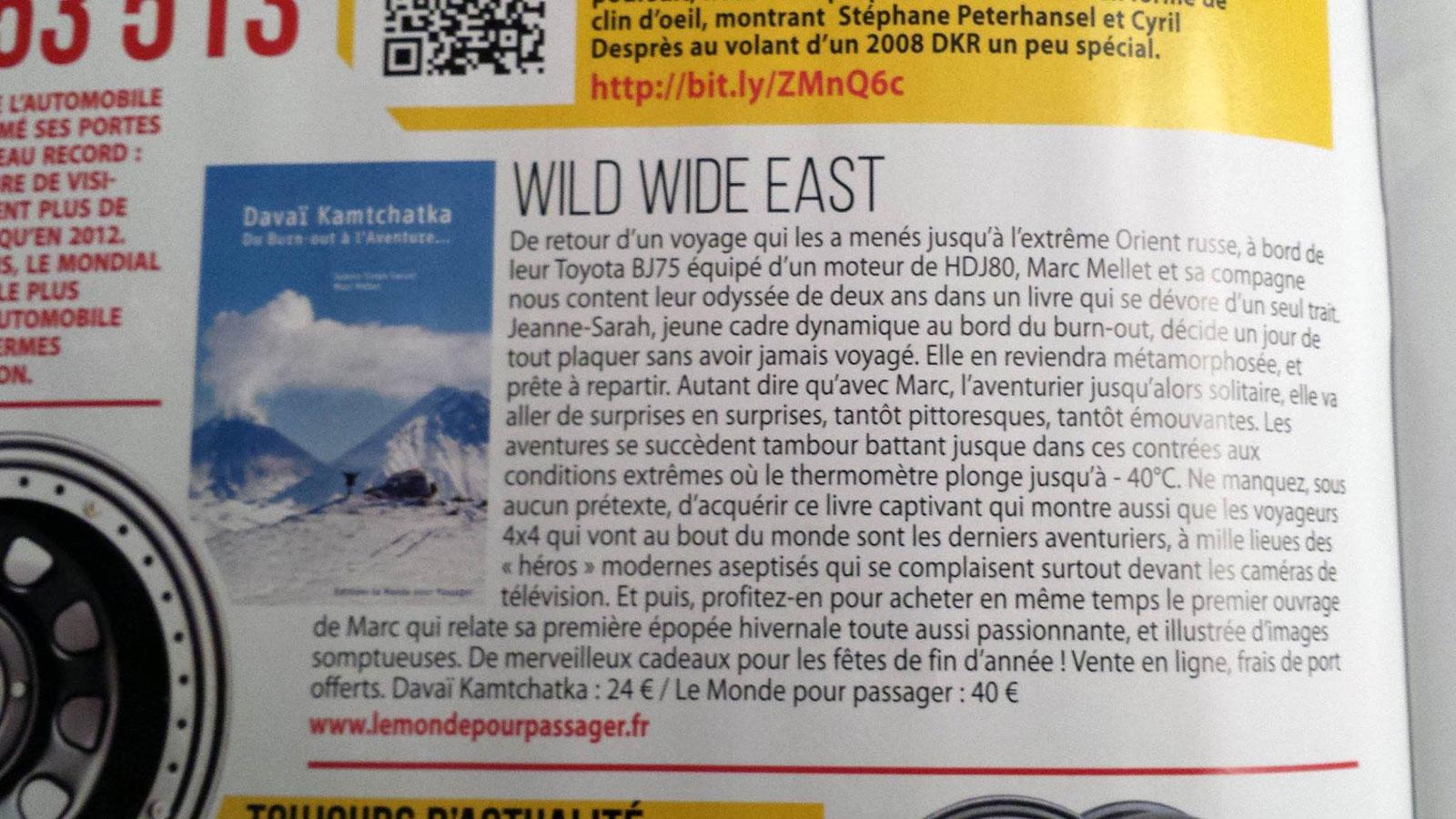 article de Dec. 2014 de 4x4 magazine sur le livre Davïa Kamtchatka